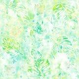 Teste padrão sem emenda com folhas do monstera e as flores tropicais ilustração stock