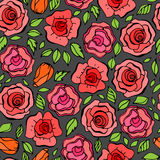 Teste padrão sem emenda com folhas e as rosas vermelhas no estilo do vintage Imagem de Stock