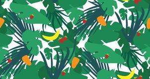Teste padrão sem emenda com folhas e frutos tropicais ilustração stock
