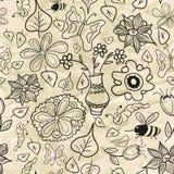 Teste padrão sem emenda com folhas e os insetos preto e branco Fotografia de Stock Royalty Free