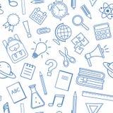 Teste padrão sem emenda com fontes de escola, projeto do esboço Ilustração do vetor ilustração stock