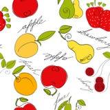 Teste padrão sem emenda com fruta Foto de Stock