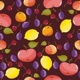 Teste padrão sem emenda com frutas Ilustração do vetor Fotografia de Stock