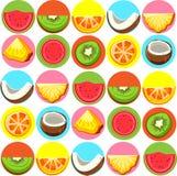 Teste padrão sem emenda com frutos exóticos brilhantes ilustração do vetor