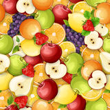 Teste padrão sem emenda com frutos frescos Imagens de Stock Royalty Free