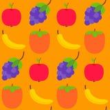 Teste padrão sem emenda com frutos frescos Fotografia de Stock
