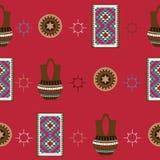 Teste padrão sem emenda com fundo brilhante Eletrodomésticos nativos americanos dos indianos como a cerâmica e o tapete do navajo Imagens de Stock