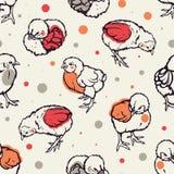 Teste padrão sem emenda com galinha pequena poultry cultivar Levantamento dos rebanhos animais Mão desenhada ilustração stock