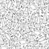 Teste padrão sem emenda com garrafas e símbolos da alquimia Fotografia de Stock Royalty Free
