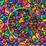Teste padrão sem emenda com garranchos multi-coloridos Fundo ondulado listrado moderno abstrato com círculo no centro ilustração stock