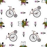Teste padrão sem emenda com gatos, bicicletas e doces ilustração stock