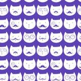 Teste padrão sem emenda com gatos bonitos Fotografia de Stock Royalty Free