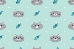 Teste padrão sem emenda com gatos bonitos e peixes Fotos de Stock Royalty Free