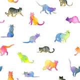 Teste padrão sem emenda com gatos bonitos Gato bonito Aquarela Cat Illustration Teste padrão do gato Imagens de Stock Royalty Free