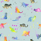 Teste padrão sem emenda com gatos bonitos Gato bonito Aquarela Cat Illustration Teste padrão do gato Imagens de Stock