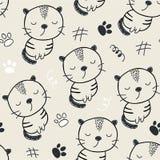 Teste padrão sem emenda com gatos bonitos ilustração do vetor para a matéria têxtil, tela imagens de stock royalty free