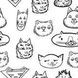 Teste padrão sem emenda com gatos Gatos da garatuja caras engraçadas dos gatos Imagens de Stock Royalty Free