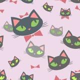 Teste padrão sem emenda com gatos dos desenhos animados ilustração stock
