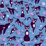 Teste padrão sem emenda com gatos dos desenhos animados Foto de Stock Royalty Free