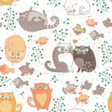 Teste padrão sem emenda com gatos e pássaros ilustração royalty free