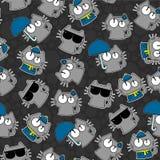 Teste padrão sem emenda com gatos engraçados Imagens de Stock Royalty Free