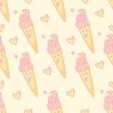 Teste padrão sem emenda com gelado alegre com o cone cor-de-rosa do creme e do waffle Imagem de Stock Royalty Free