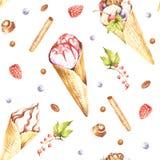 Teste padrão sem emenda com gelado Ilustração da aquarela da tração da mão Foto de Stock Royalty Free