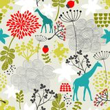 Teste padrão sem emenda com girafa e flores. ilustração do vetor