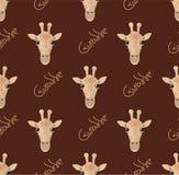 Teste padrão sem emenda com girafas em um fundo marrom ilustração stock