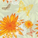 Teste padrão sem emenda com girassóis e borboletas, Foto de Stock Royalty Free
