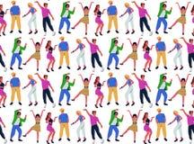 Teste padrão sem emenda com grupo de povos de dança novos no fundo branco Homem novo de sorriso e dançarinos fêmeas que apreciam ilustração royalty free