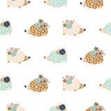 Teste padrão sem emenda com hedgehogs ilustração stock