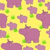 Teste padrão sem emenda com hipopótamo Teste padrão engraçado dos animais em um fundo amarelo Fotografia de Stock Royalty Free