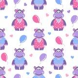 Teste padrão sem emenda com hippopotami, corações e bolas ilustração royalty free