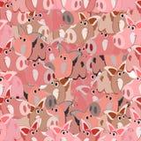 Teste padrão sem emenda com a imagem de um porco do rosa dos desenhos animados, o símbolo do ano novo chinês, em um fundo isolado ilustração stock
