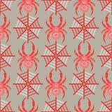 Teste padrão sem emenda com insetos, fundo simétrico do vetor com as aranhas vermelhas decorativas do close up, sobre o contexto  Imagem de Stock