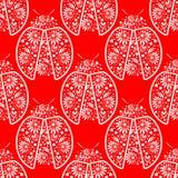 Teste padrão sem emenda com insetos, fundo simétrico do vetor com os joaninhas vermelhos decorativos brilhantes do close up, sobr Imagens de Stock Royalty Free