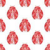 Teste padrão sem emenda com insetos, fundo simétrico do vetor com os joaninhas vermelhos decorativos brilhantes, sobre o contexto Fotografia de Stock