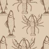 Teste padrão sem emenda com lagostas e peixes no fundo bege Ilustração Stock