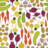 Teste padrão sem emenda com legumes frescos Fotos de Stock Royalty Free