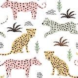 Teste padrão sem emenda com leopardos fundo para a tela, matéria têxtil, papel de parede ilustração royalty free
