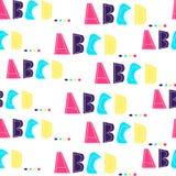 Teste padrão sem emenda com letras do alfabeto A, B, C, D Cores de néon brilhantes no fundo branco As letras são tiradas à mão ilustração do vetor