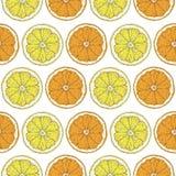 Teste padrão sem emenda com limão e fatias alaranjadas Fotos de Stock Royalty Free
