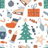 Teste padrão sem emenda com mão bonito objetos tirados: Árvore de Natal, peúga, caixa de presente, fotografia de stock