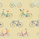 Teste padrão sem emenda com mão colorida as bicicletas tiradas da cidade e as bicicletas da competência Ilustração Royalty Free