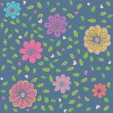Teste padrão sem emenda com mão estilizado as flores e as folhas tiradas Fotos de Stock Royalty Free