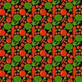 Teste padrão sem emenda com maçã, couve, cenoura e cereja Foto de Stock