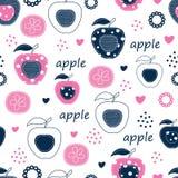 Teste padrão sem emenda com maçãs Fotografia de Stock