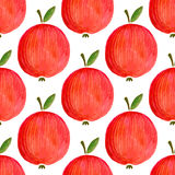 Teste padrão sem emenda com maçãs da aquarela maçã da aquarela da ilustração para seu projeto Imagem de Stock