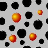 Teste padrão sem emenda com maçãs pretas e algum ouro Fotos de Stock Royalty Free
